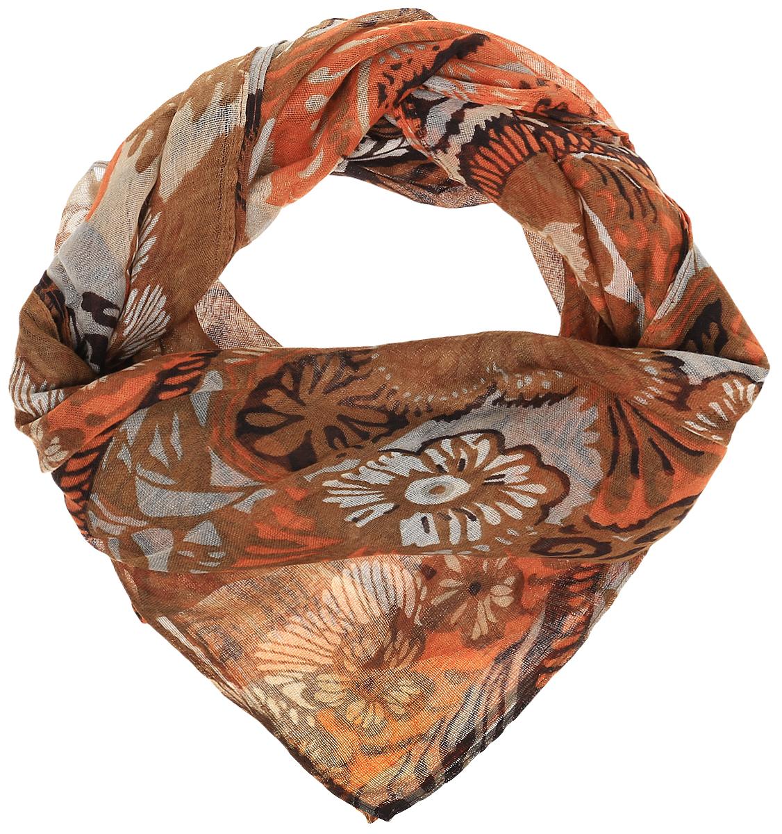 RoFC428-1/11-4Стильный женский платок Vita Pelle изготовлен из высококачественного хлопка с добавлением полиэстера и модала. Платок оформлен крупным цветочным принтом. Край отделан швом американка.