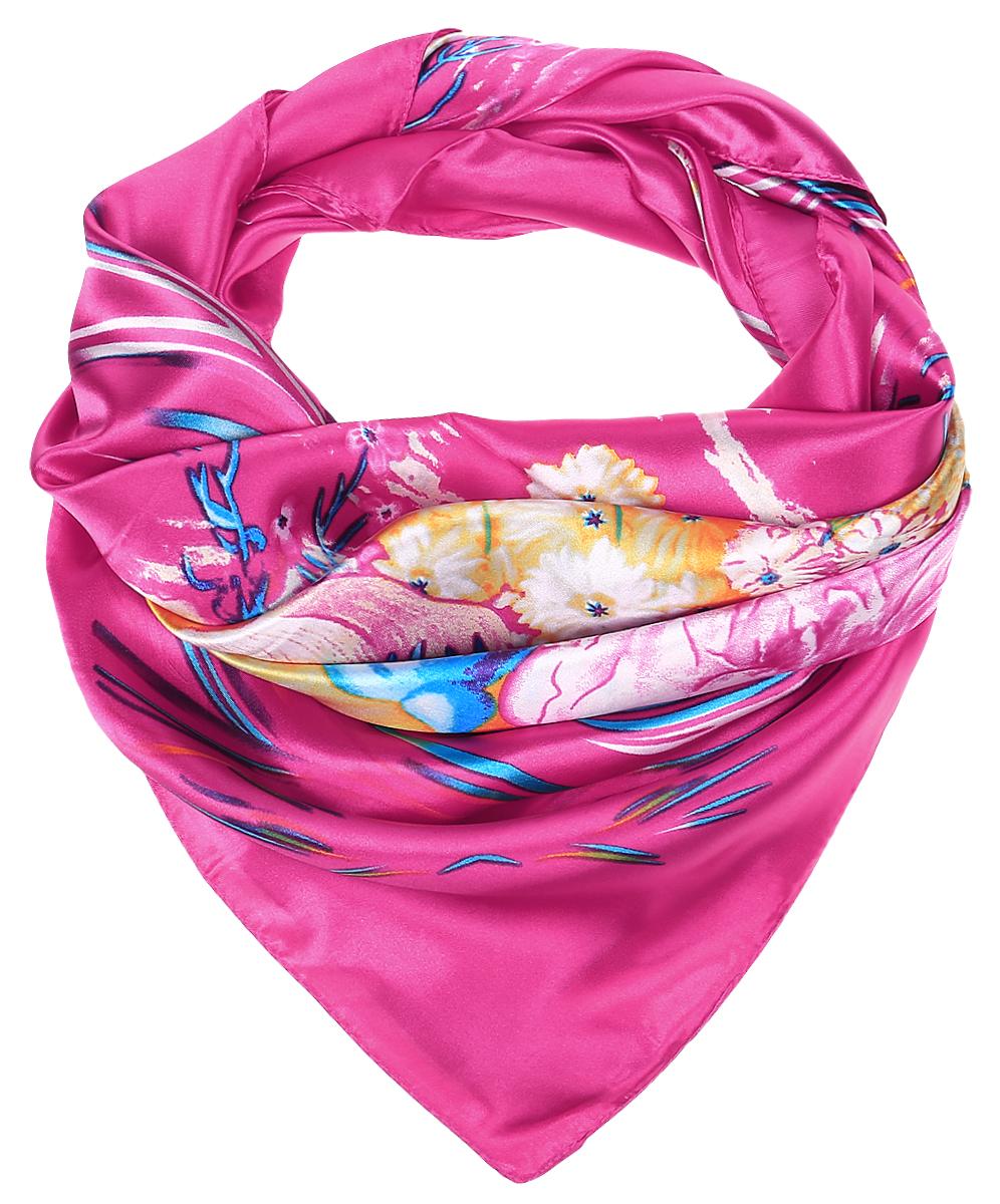 ПлатокRoHS1602/3-2Стильный женский платок Vittorio Richi изготовлен из высококачественного полиэстера с добавлением шелка. Платок оформлен красочным цветочным принтом. Край отделан швом американка.