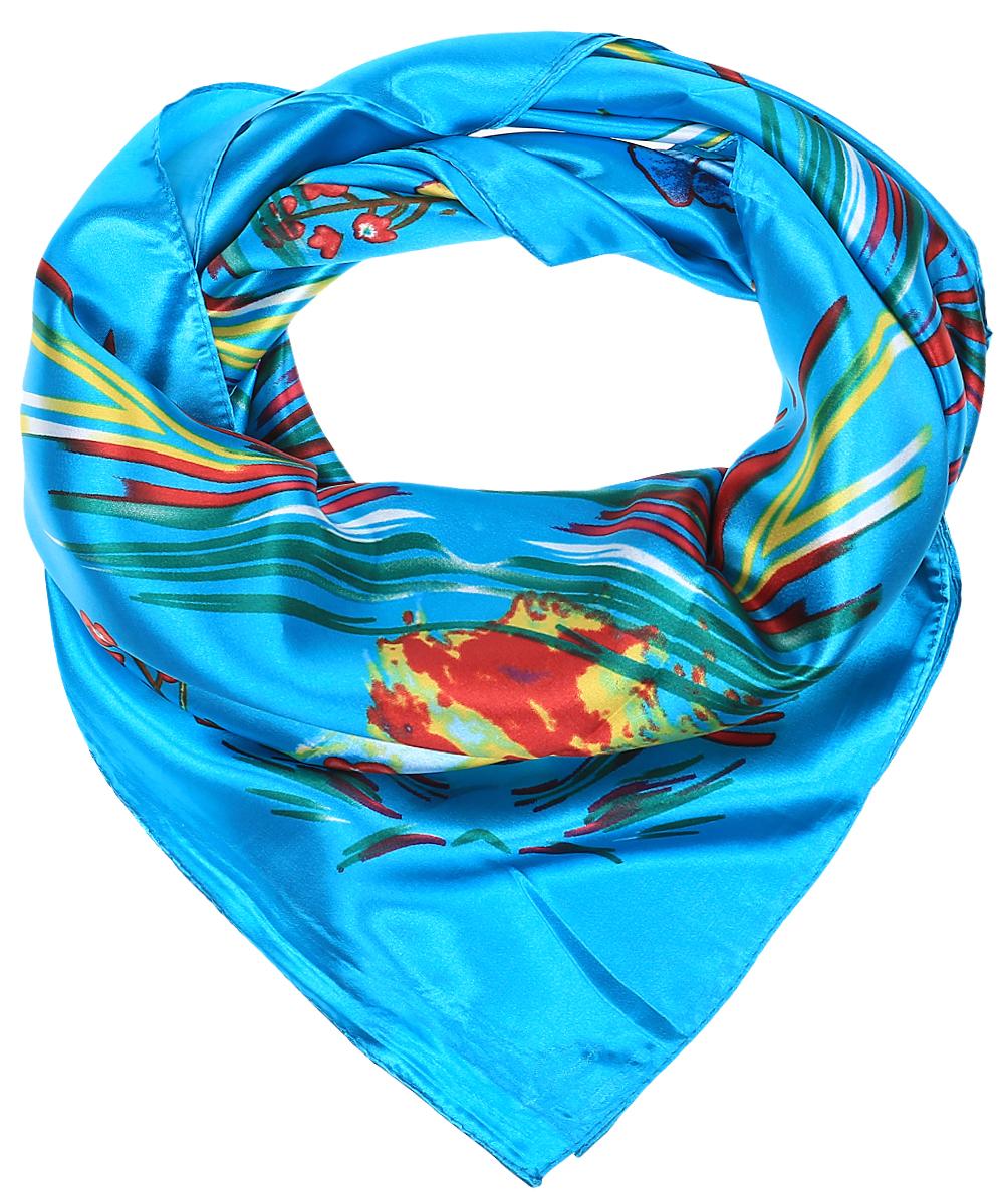 RoHS1602/3-2Стильный женский платок Vittorio Richi изготовлен из высококачественного полиэстера с добавлением шелка. Платок оформлен красочным цветочным принтом. Край отделан швом американка.