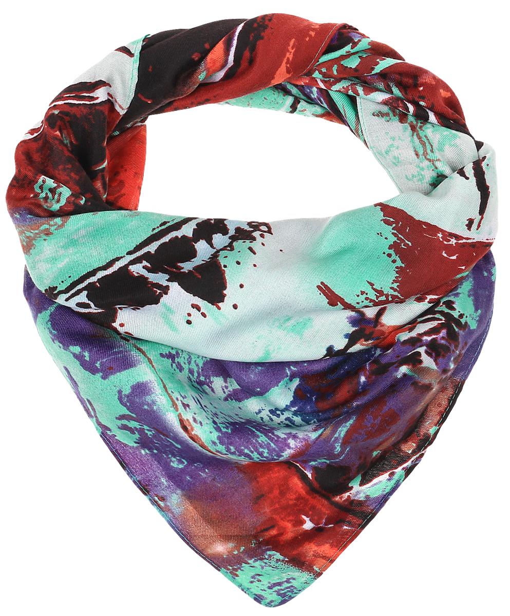 RoFC816/5-6Стильный женский платок Vita Pelle изготовлен из высококачественной вискозы с добавлением шелка и рами. Платок оформлен ярким абстрактным принтом. Край отделан швом американка.