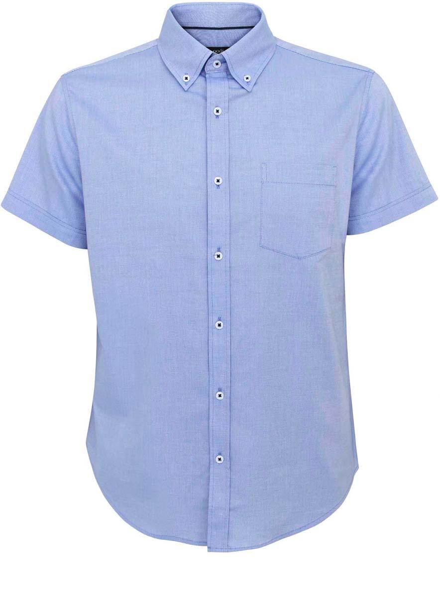 Рубашка3B210003M/34246N/1000NСтильная мужская рубашка oodji Basic выполнена из натурального хлопка. Модель с отложным воротником и короткими рукавами застегивается на пуговицы спереди. Спереди рубашка оформлена накладным карманом.