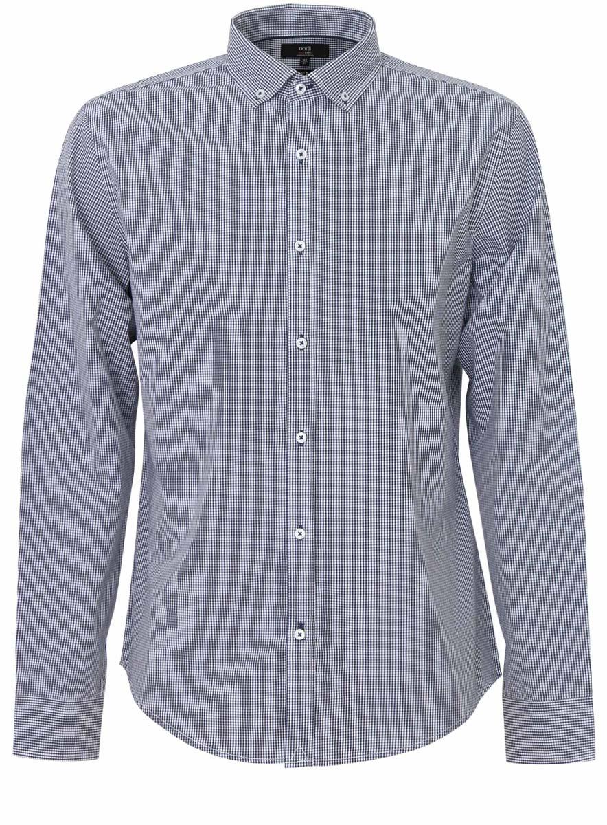 Рубашка3B110006M/25416N/7910CМужская рубашка oodji Basic выполнена из натурального хлопка. Модель с отложным воротником и длинными рукавами оформлена интересным принтом.