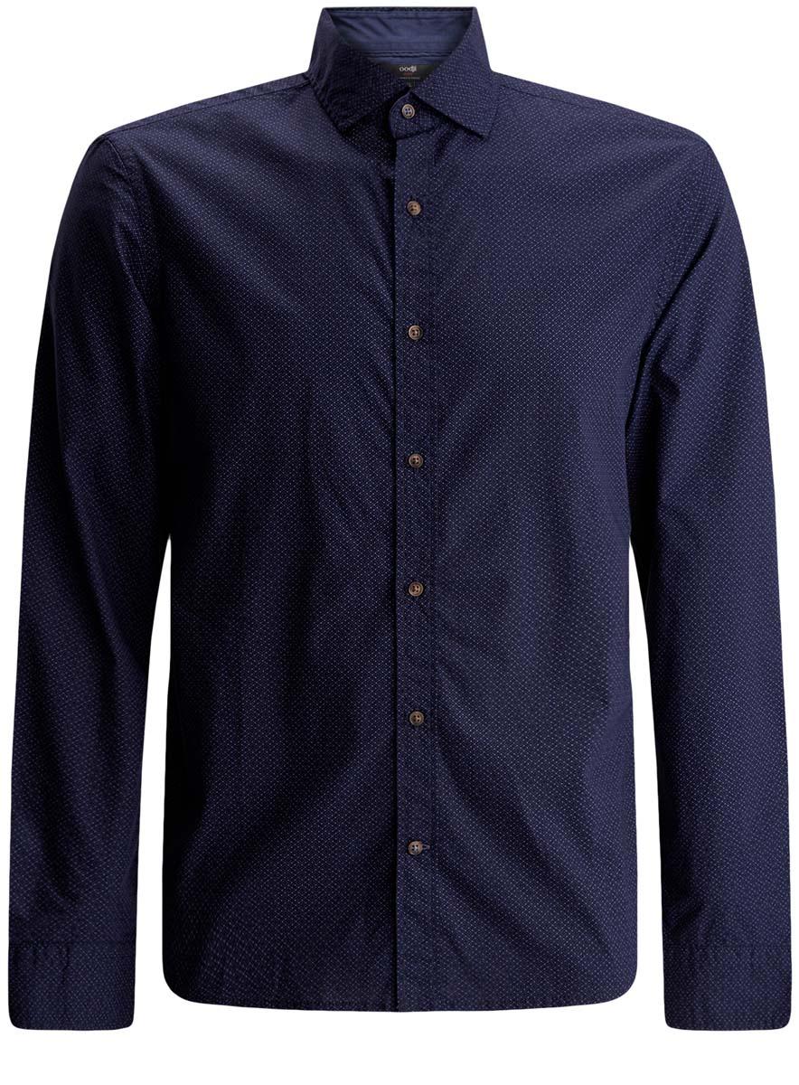 Рубашка3L310124M/39749N/7975DМужская рубашка oodji Lab выполнена из натурального хлопка. Модель с отложным воротником и длинными рукавами застегивается на пуговицы.