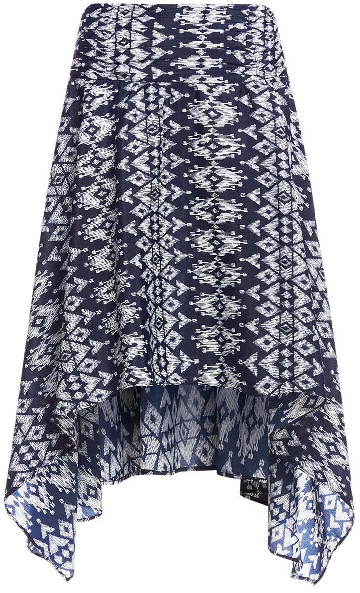 11600386/26546/7912EМодная юбка с ассиметричным низом oodji Ultra выполнена из 100% полиэстера. Юбка застегивается сзади на застежку-молнию. Модель дополнена оригинальным принтом.