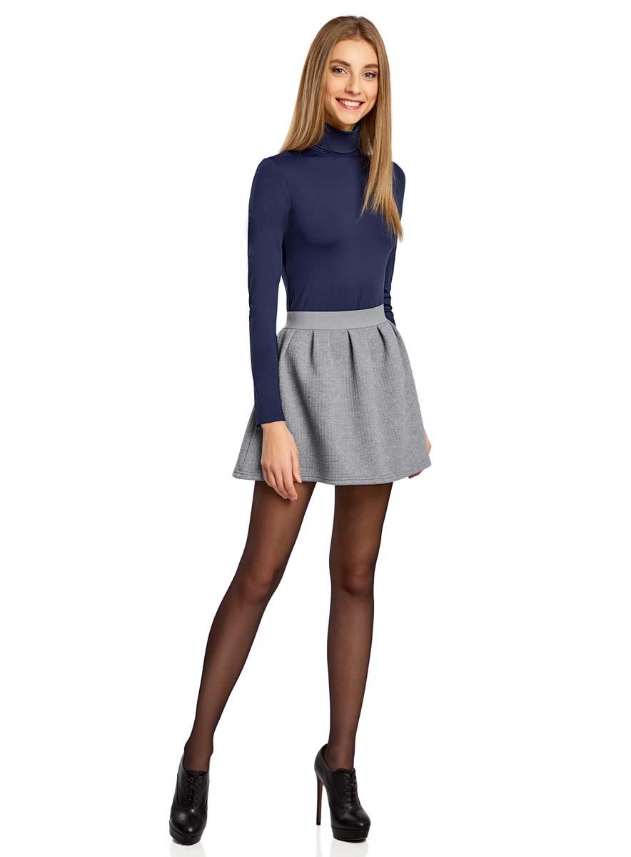 Юбка14100019-1/43642/2900NСтильная юбка oodji Ultra выполнена из полиэстера с добавлением полиуретана. Модель-трапеция с эластичной резинкой на поясе застегивается на застежку-молнию на спинке.