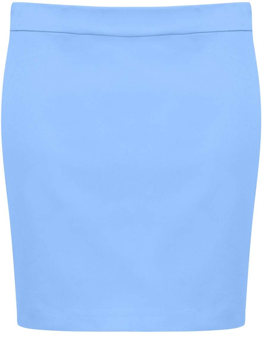 Юбка11601179-2/14522/7900NЮбка oodji Ultra выполнена из хлопка с добавлением полиуретана. Модель-мини прямого фасона застегивается на спинке на застежку-молнию.