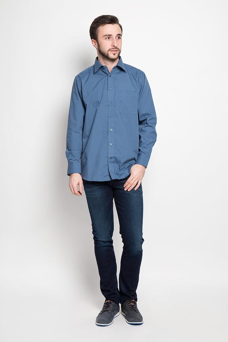 FlintОтличная мужская рубашка, выполненная из хлопка с добавлением полиэстера. Рубашка прямого кроя с длинными рукавами и отложным воротником застегивается на пуговицы. Модель дополнена одним нагрудным карманом.