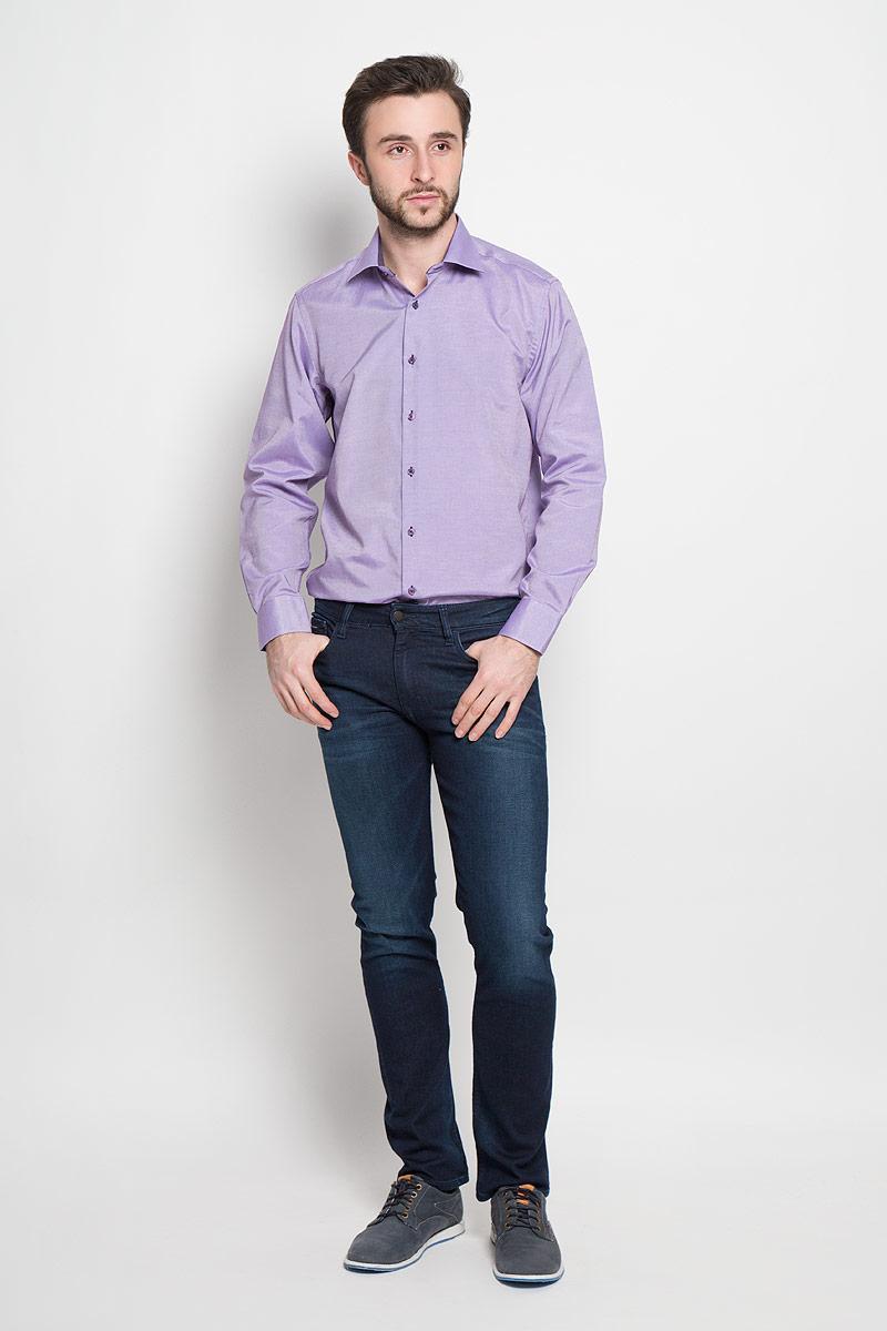 Argento 16Отличная мужская рубашка, выполненная из хлопка с добавлением полиэстера. Рубашка прямого кроя с длинными рукавами и отложным воротником застегивается на пуговицы.
