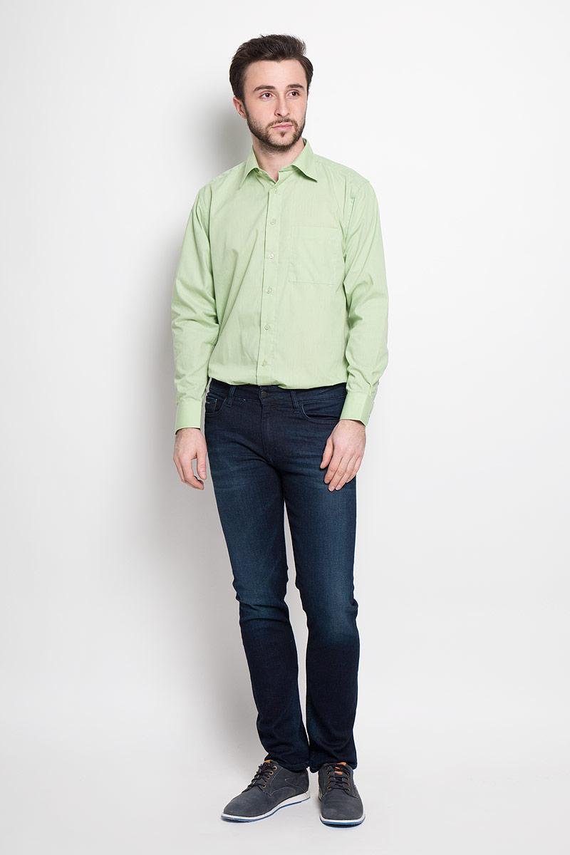 РубашкаMineral GreenОтличная мужская рубашка, выполненная из хлопка с добавлением полиэстера. Рубашка прямого кроя с длинными рукавами и отложным воротником застегивается на пуговицы. Модель дополнена одним нагрудным карманом.