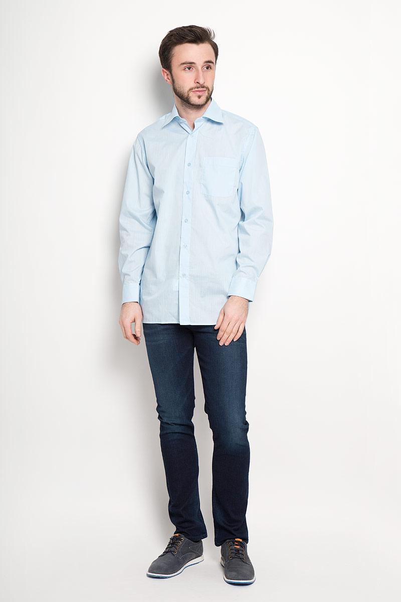 PT967Отличная мужская рубашка, выполненная из хлопка с добавлением полиэстера. Рубашка прямого кроя с длинными рукавами и отложным воротником застегивается на пуговицы. Модель дополнена одним нагрудным карманом.