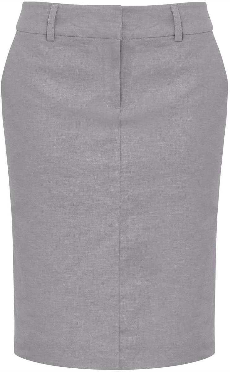 21602073-4/19829/2000NМодная юбка длины миди oodji Collection выполнена из льна и вискозы. Подкладка изготовлена из тонкой гладкой ткани. Юбка застегивается спереди на застежку-молнию, два крючка и скрытую пуговицу. На поясе имеются шлевки для ремня. С лицевой стороны расположены два втачных кармана. Задняя сторона юбки декорирована имитацией карманов. Модель выполнена в строгом лаконичном дизайне. Сзади имеется вырез.