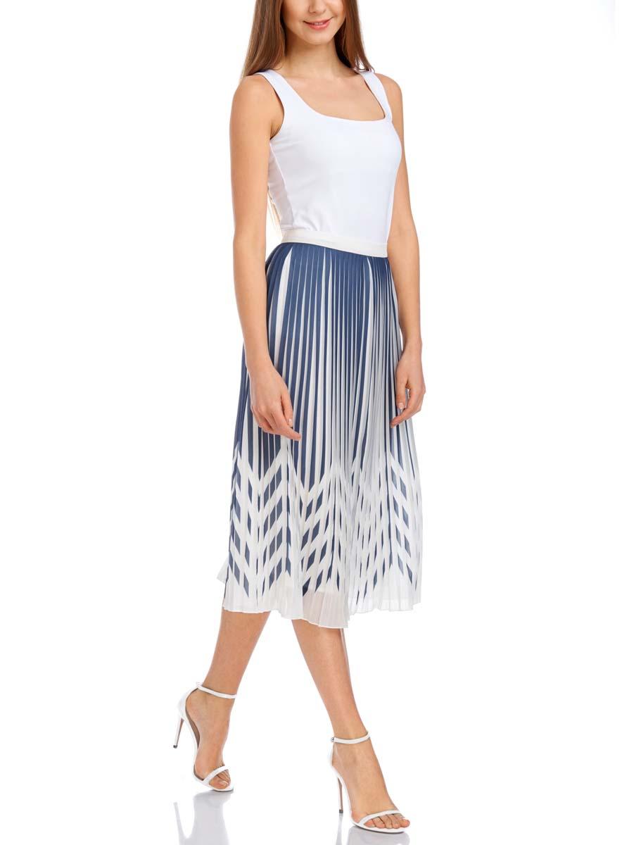 21606019/17358/7379GПлиссированная юбка oodji Collection выполнена полностью из полиэстера. Модель миди длины застегивается сбоку на скрытую молнию и крючок. Юбка оформлена принтом в полоску.