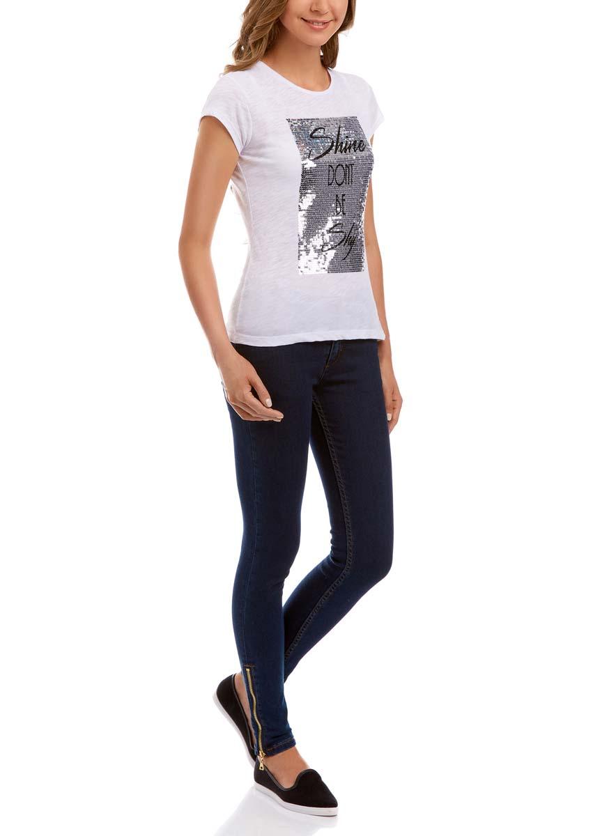 Футболка14701036M/45221/1029PУдобная женская футболка oodji Ultra изготовлена из сочетания натурального хлопка с полиэстером. Модель с круглым вырезом горловины и короткими рукавами оформлена оригинальным принтом из блестящих пайеток.