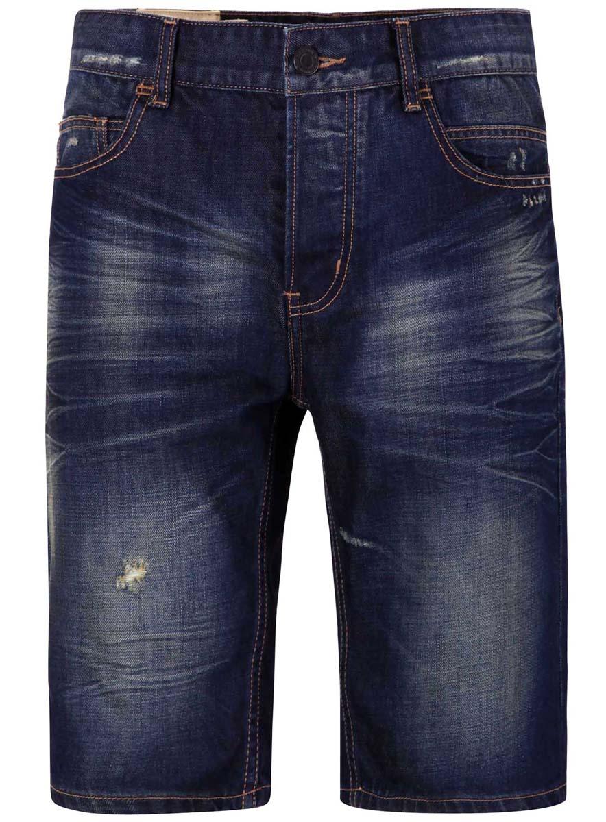Шорты6L220007M/34534N/7500WСтильные джинсовые шорты oodji изготовлены из высококачественного материала (100% хлопка). Модель застегивается на пуговицу в поясе и три скрытые пуговицы, имеются шлевки для ремня. Спереди расположены два втачных кармана и один небольшой накладной кармашек, а сзади - два накладных кармана. Модель оформлена эффектом потертости.