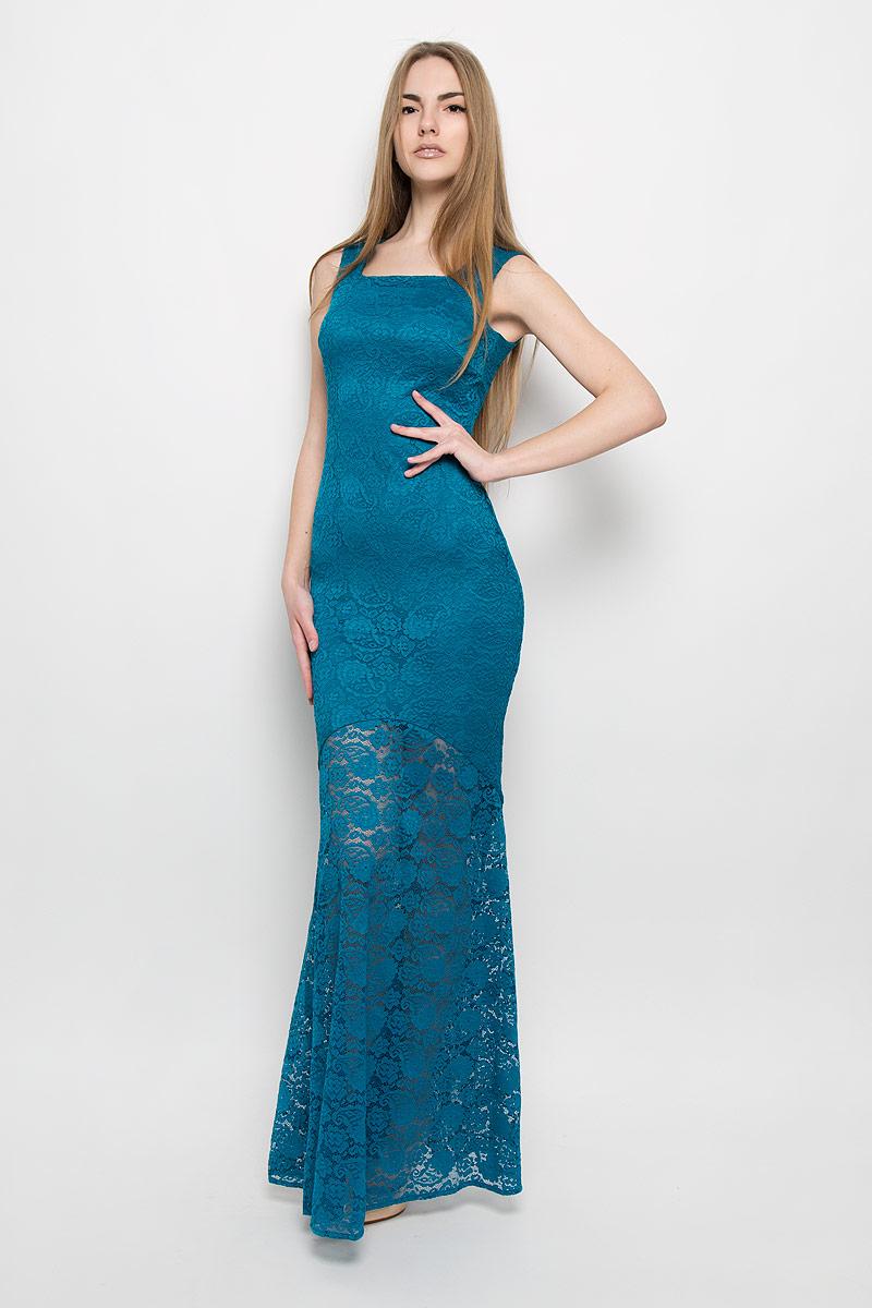Платье113500Нарядное платье макси от Ruxara изготовлено из роскошного кружева и дополнено подкладкой. Модель силуэта русалка. Горловина оформлена вырезом каре. Платье без рукавов на широких бретелях.