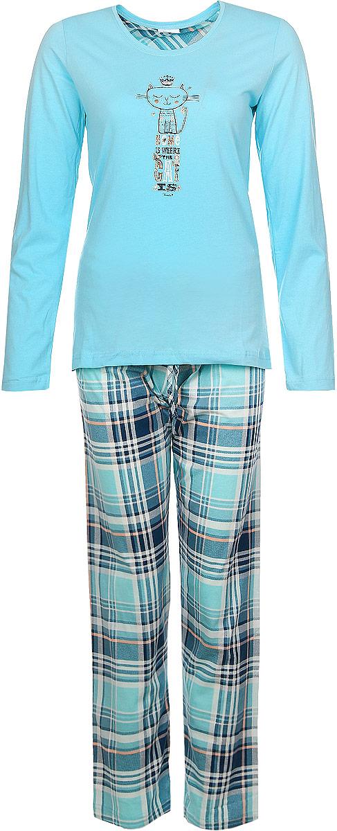 604061 4493Женский домашний костюм Vienettas Secret состоит из лонгслива и брюк. Лонгслив с круглым вырезом горловины и длинными рукавами, изготовленный из эластичного хлопка, оформлен спереди стильным принтом с изображением котика и надписями. Брюки из натурального хлопка с эластичным поясом на шнурке оформлены стильным принтом в клетку.
