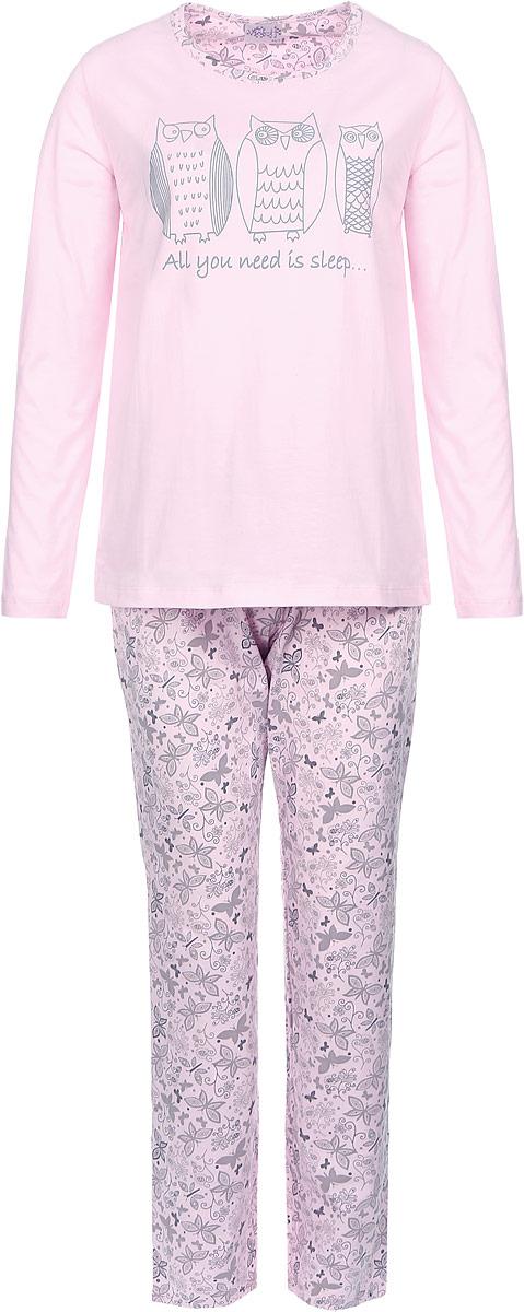 Домашний комплект17150119Женский домашний костюм Violett состоит из лонгслива и брюк. Лонгслив с круглым вырезом горловины и длинными рукавами, изготовленный из эластичного хлопка, оформлен спереди стильным принтом с изображение сов. Брюки из натурального хлопка с эластичным поясом на шнурке оформлены оригинальным принтом с узорами и бабочками.