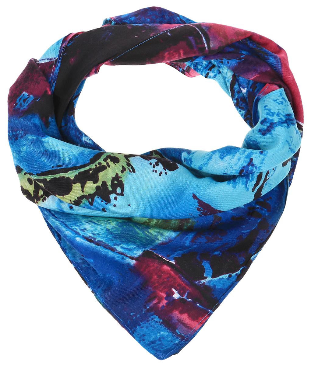 ПлатокRoFC816/5-6Стильный женский платок Vita Pelle изготовлен из высококачественной вискозы с добавлением шелка и рами. Платок оформлен ярким абстрактным принтом. Край отделан швом американка.