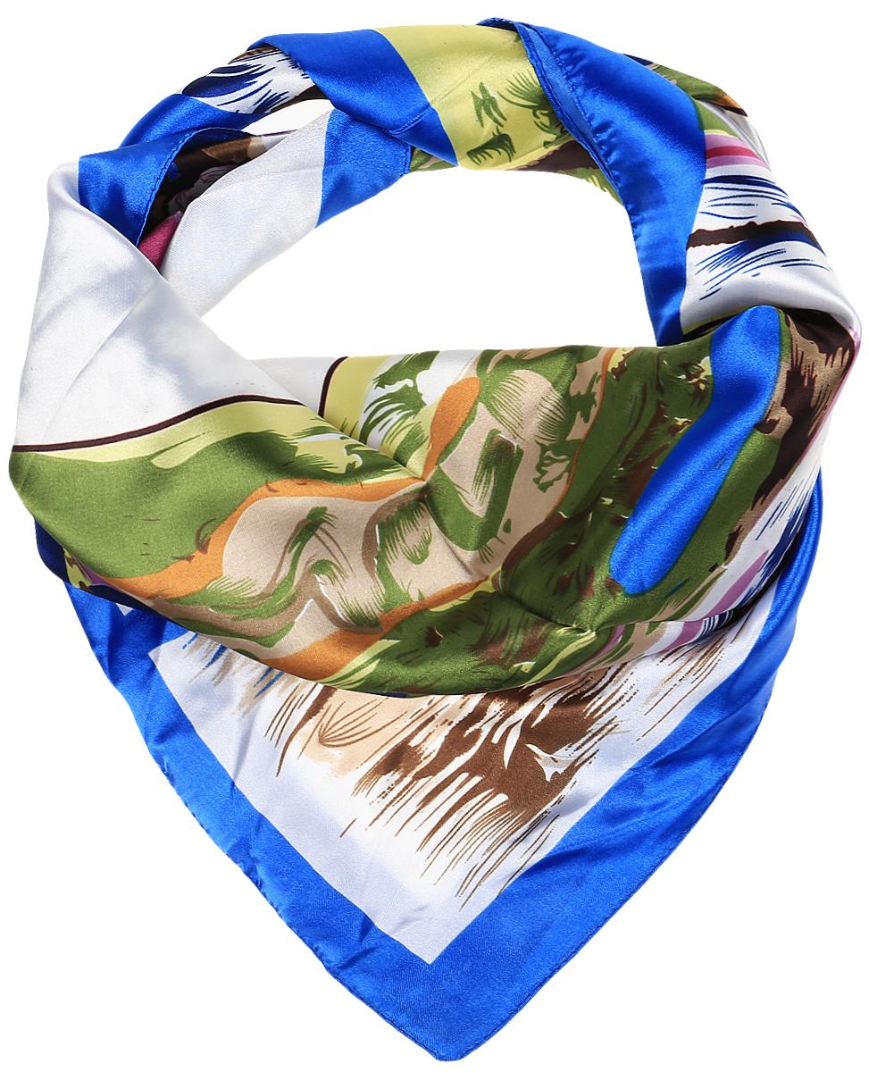 ПлатокRo68/7-1Стильный женский платок Vittorio Richi изготовлен из высококачественного полиэстера с добавлением шелка. Платок оформлен красочным абстрактным узором. Край отделан швом американка.