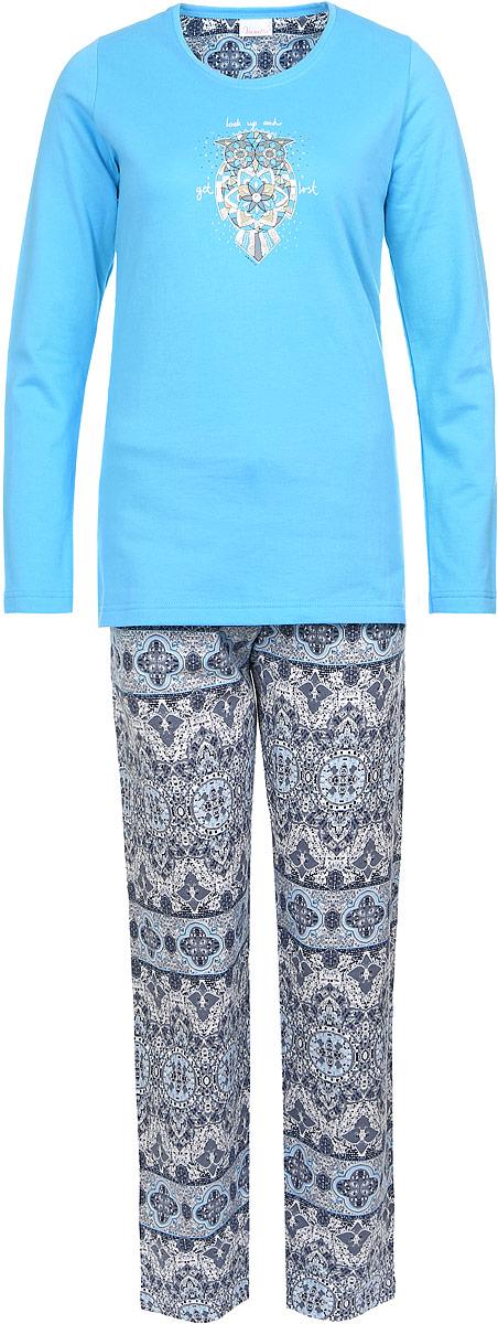 Домашний комплект606048 0312Женский домашний костюм Vienettas Secret состоит из толстовки и брюк. Внутренняя сторона изделия выполнена на мягкой и приятной на ощупь байки. Толстовка с круглым вырезом горловины и длинными рукавами, изготовленная из эластичного хлопка, оформлена спереди стильным принтом с изображением совы. Брюки, выполненные из натурального хлопка, дополнены эластичным поясом на шнурке и оформлены принтом с узорами.