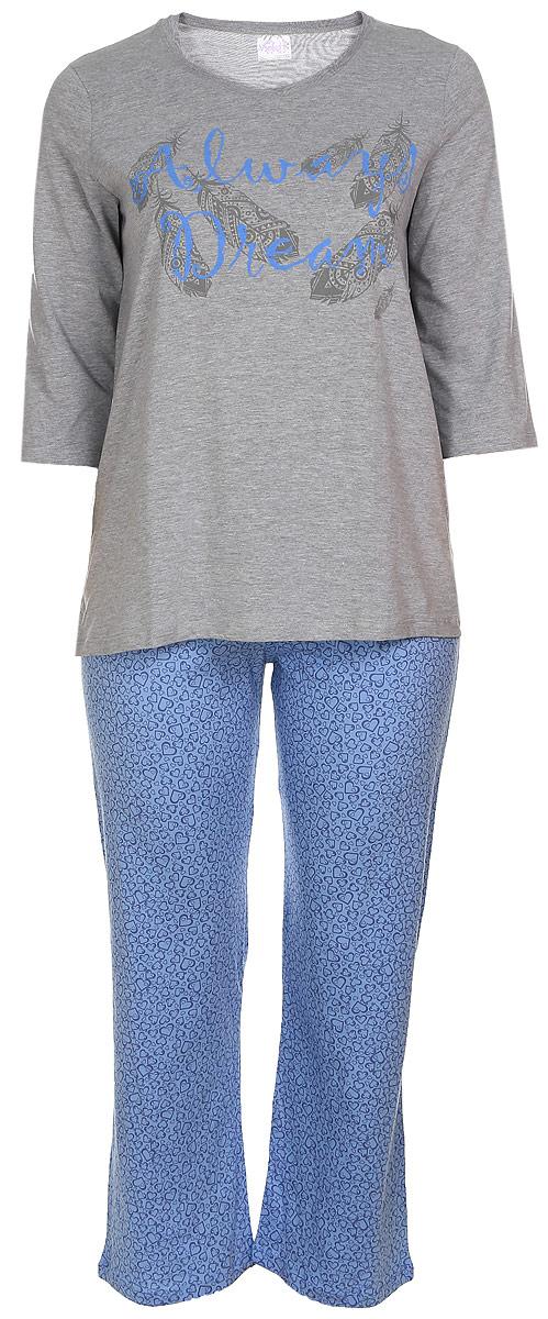 Домашний комплект17150211Женский домашний комплект Violett Always Dream включает в себя лонгслив и брюки. Комплект изготовлен из приятного на ощупь высококачественного натурального хлопка. Брюки дополнены широкой эластичной резинкой на поясе и оснащены затягивающимся шнурком-кулиской. Модель украшена принтом с сердечками. Лонгслив с рукавами 3/4 и круглым вырезом горловины украшен изображением перьев и надписью Always Dream.