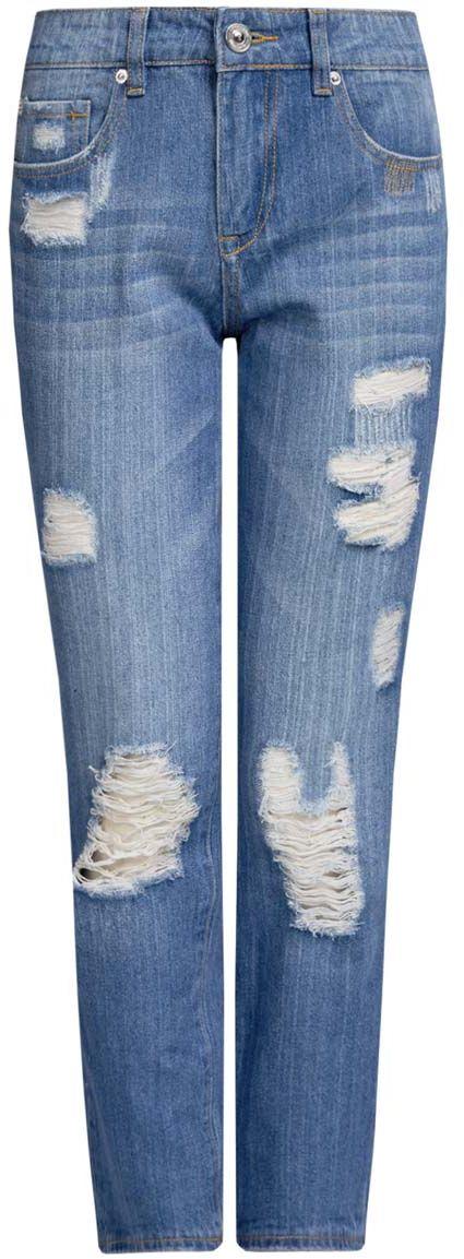 Джинсы12105101/46278/7500WЖенские джинсы oodji Ultra выполнены из высококачественного материала. Модель-бойфренды средней посадки по поясу застегиваются на пуговицу и имеют ширинку на застежке-молнии, а также шлевки для ремня. Джинсы имеют классический пятикарманный крой: спереди - два втачных кармана и один маленький накладной, а сзади - два накладных кармана. Модель оформлена потертостями.