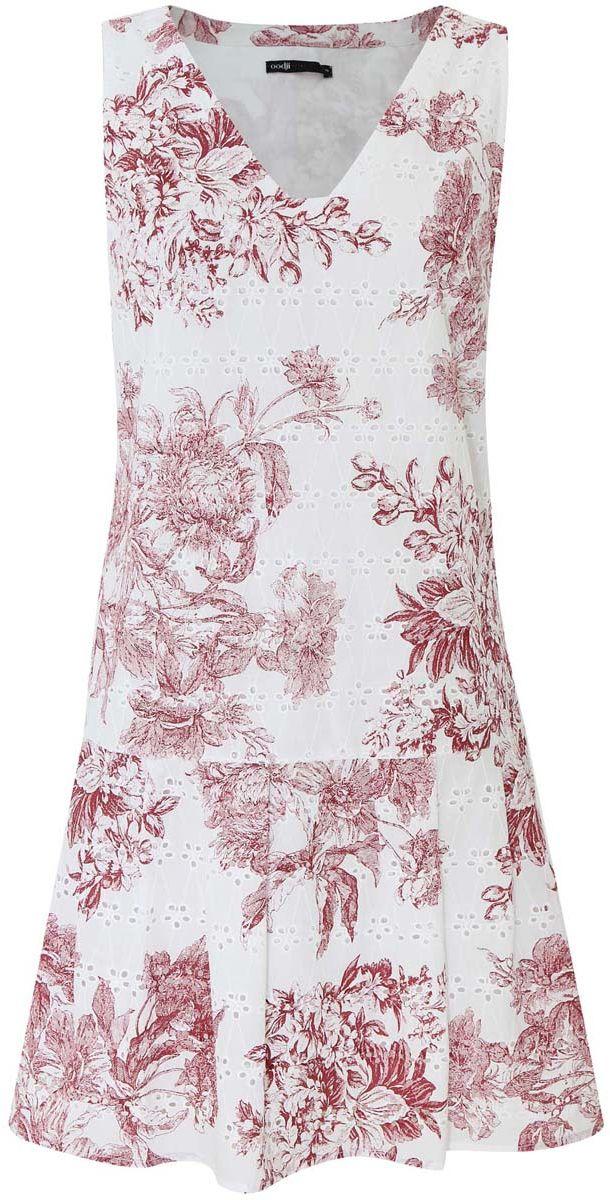 Платье11910086/42683/1079FМодное платье oodji Ultra станет отличным дополнением к вашему гардеробу. Модель выполнена из натурального хлопка. Платье-миди без рукавов и с V-образным вырезом горловины застегивается по боковому шву на застежку-молнию. Чуть ниже талии юбка дополнена стильными складками, которые добавляют изделию пышность. Платье оформлено цветочным принтом и небольшой перфорацией.
