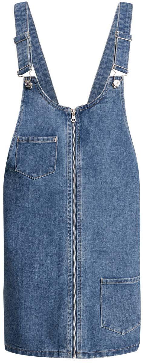 12909047/45254/7000WСтильный джинсовый сарафан длины мини oodji Denim изготовлен из 100% хлопка. Модель с высокой грудкой застегивается спереди на застежку-молнию. Широкие лямки регулируются по длине. Спереди сарафан дополнен двумя накладными карманами. С задней стороны расположен еще один накладной карман, украшенный аппликацией в виде символа пацифик.