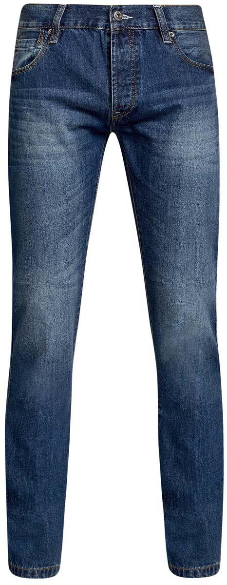 Джинсы6B130025M/35771/7500WМужские джинсы oodji Basic изготовлены из натурального хлопка. Джинсы-слим средней посадки застегиваются на металлические пуговицы. На поясе имеются шлевки для ремня. Спереди модель дополнена двумя втачными карманами и одним небольшим накладным кармашком, сзади - двумя накладными карманами. Модель оформлена эффектом потертости.