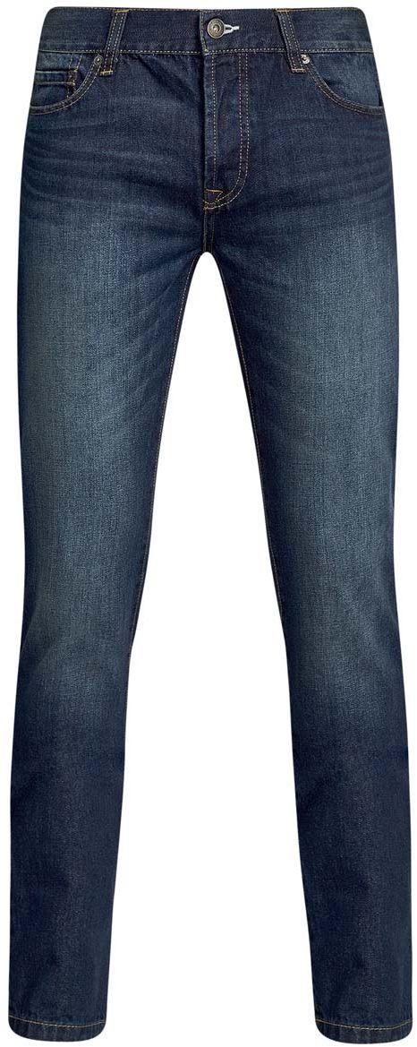 6B120044M/35771/7500WМужские джинсы oodji Basic изготовлены из натурального хлопка. Джинсы-слим средней посадки застегиваются на пуговицы. На поясе имеются шлевки для ремня. Спереди модель дополнена двумя втачными карманами и одним небольшим накладным кармашком, сзади - двумя накладными карманами. Модель оформлена эффектом легкой потертости.