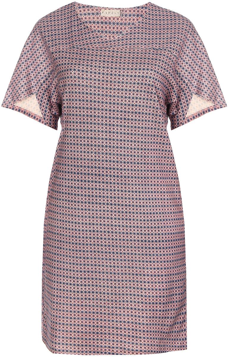 Платье домашнее160068Домашнее платье Marusя Орнамент выполнено из натурального хлопка. Модель свободного кроя и средней длины с цельнокроеными короткими рукавами имеет круглый вырез горловины. Платье оформлено мелким цветочным принтом.