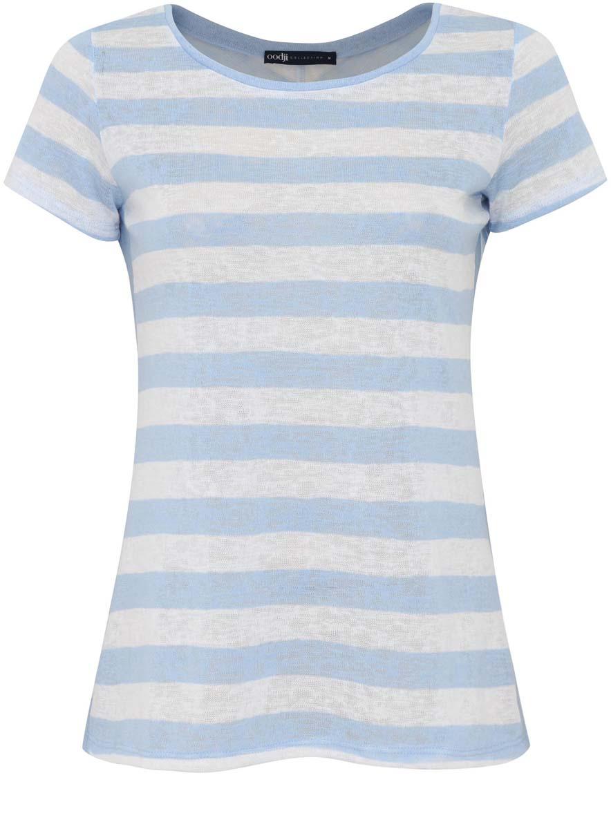 21301385/43001/1070SЖенская футболка oodji Collection выполнена из полиэстера с добавлением вискозы. Модель с круглым вырезом горловины и короткими рукавами оформлена принтом в полоску.