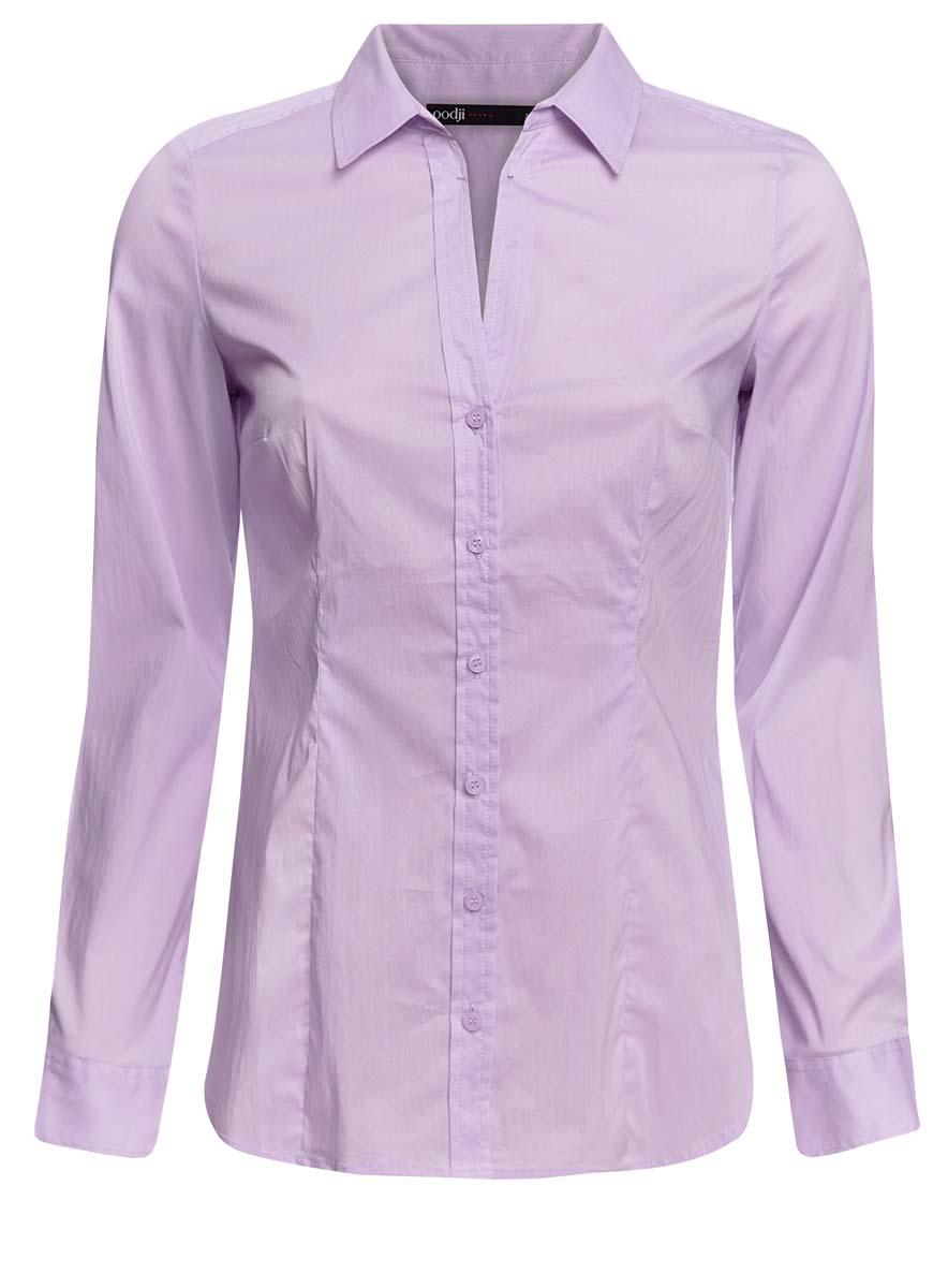 21402211/33431/5000NЖенская блузка oodji Collection исполнена из тонкой дышащей ткани. Имеет воротник с V-образным вырезом и длинный рукав. Модель плотно садится и прилегает по фигуре. Спереди и на манжетах застегивается на пуговицы.