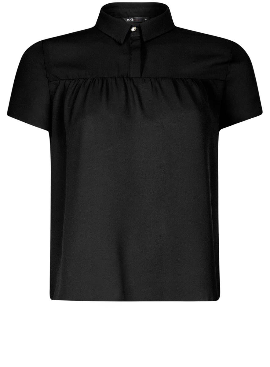11400427/36215/2941FЖенская блузка oodji Ultra имеет свободный крой и короткий рукав, декорирована пуговицей со стразом под воротничком.