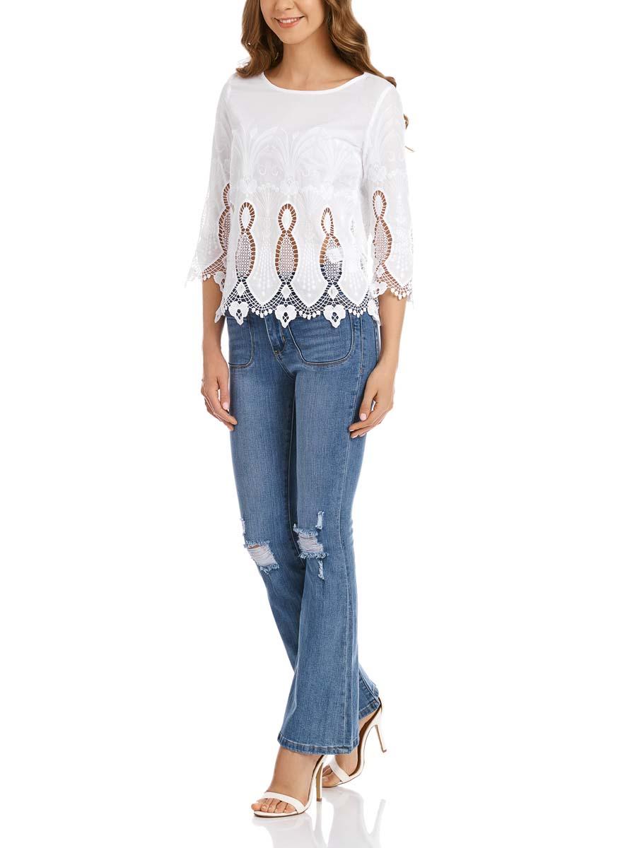 Блузка21401402M/45831/1000NЖенская блузка oodji Collection выполнена из натурального хлопка. Модель с круглым вырезом горловины и рукавами 3/4 сзади застегивается на пуговицу.