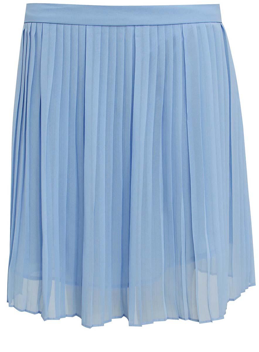 11600350/14879/4100NЛегкая женская юбка oodji Ultra выполнена из качественного полиэстера. Подкладка также изготовлена из полиэстера. Модель длины-мини застегивается сзади на потайную молнию. Юбка оформлена плиссированными складочками.