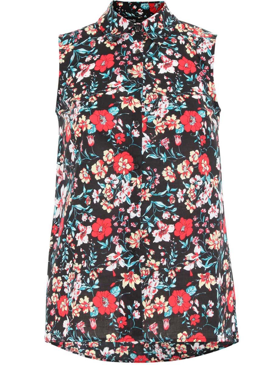Блузка21412127-1/12836/7959EОригинальная женская блузка oodji Collection, выполненная из натурального хлопка, не оставит вас без внимания. Модель без рукавов и с отложным воротником застегивается спереди на застежки-пуговицы. Оформлена блузка стильным принтом с узорами. По спинке изделие немного удлинено.