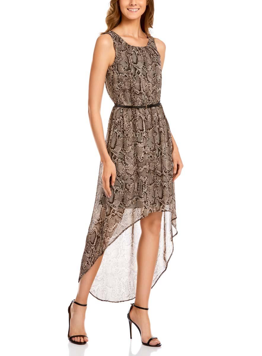 Платье21901109-3/17288/2520AСтильное платье oodji Collection изготовлено качественного полиэстера. Модель свободного кроя с круглой горловиной и без рукавов. Платье дополнено подкладкой, на талии собрано на внутреннюю резинку. Подол платья имеет асимметричную форму.