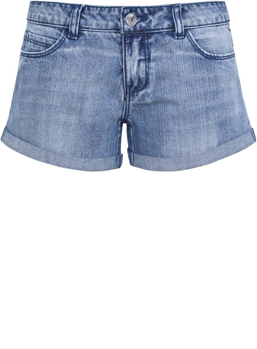 12807065/22301/7591PСтильные женские шорты oodji Denim изготовлены из 100% хлопка. Шорты застегиваются на металлическую пуговицу в поясе и ширинку на застежке-молнии. На поясе предусмотрены шлевки для ремня. Спереди расположены два прорезных кармана и один маленький накладной кармашек, сзади - два накладных кармана. Задний карман шорт дополнен серебристыми стразами.