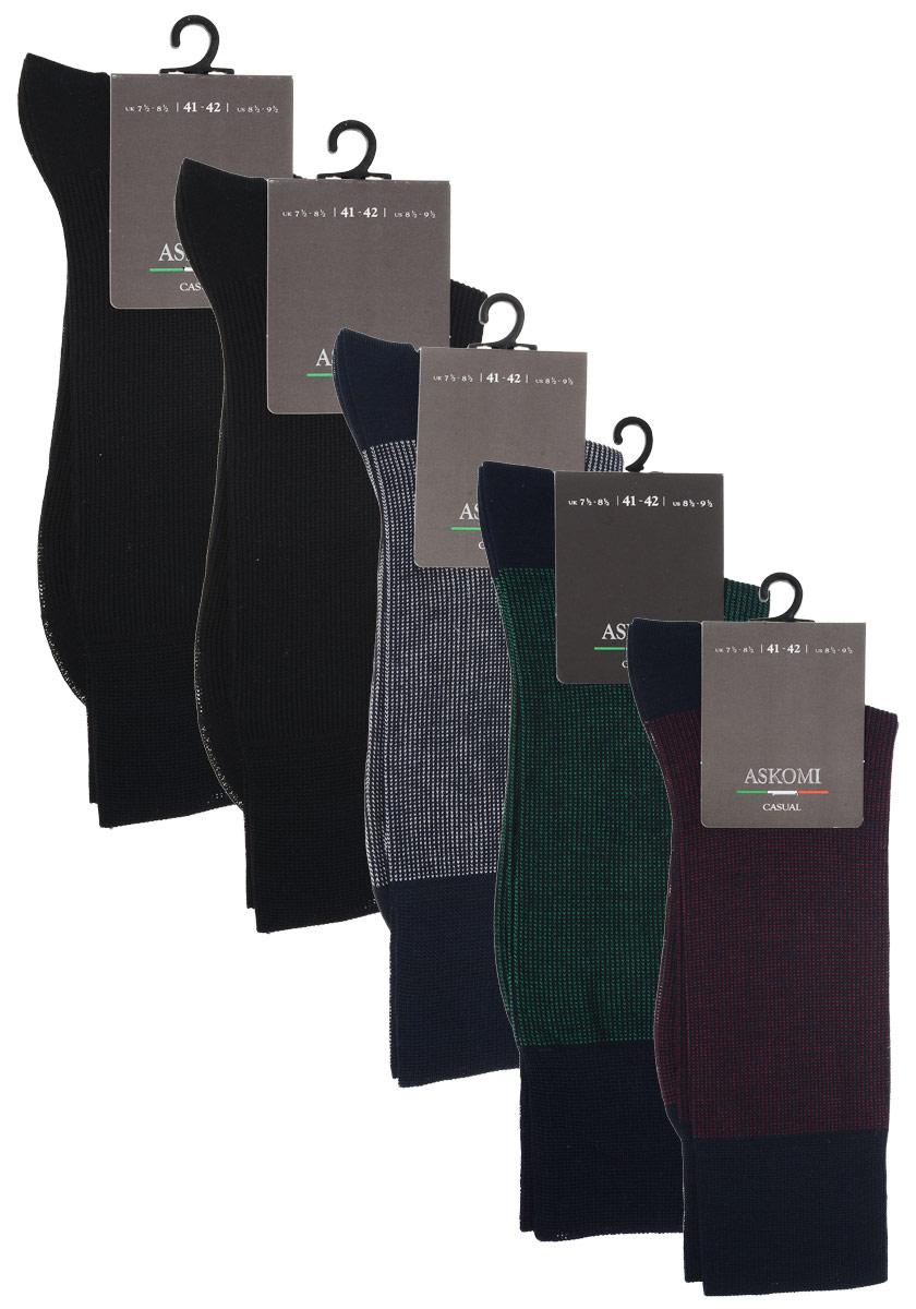 НоскиAMN-7701Стильный подарочный набор Askomi Classic для самых смелых. Включает 5 пар носков разных цветов. Носки выполнены из мерсеризованного хлопка с добавлением полиамида.