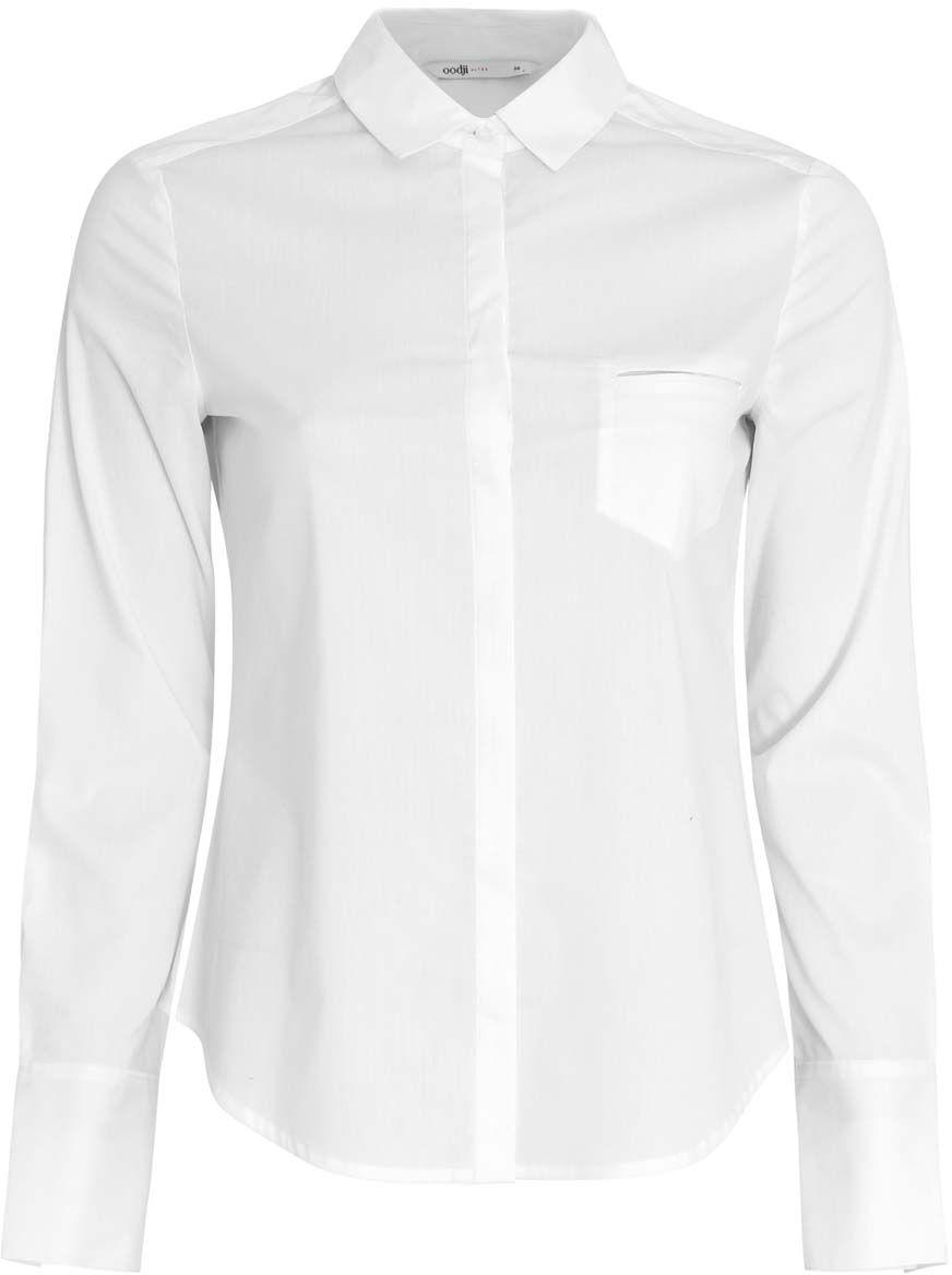 11406013/18693/4000NЖенская приталенная блузка oodji Ultra выполнена из хлопчатой ткани. Модель с отложным воротником и длинными стандартными рукавами. Спереди изделие застегивается на планку с пуговицами и дополнено накладным карманом. Подол полукруглый.