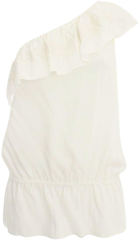Блузка11400386/26346/1200NЖенская блузка oodji Ultra выполнена полностью из вискозы. Ассиметричная модель на одно плечо с оборкой и эластичной резинкой на талии. Блузка оформлена контрастной цветочной вышивкой.