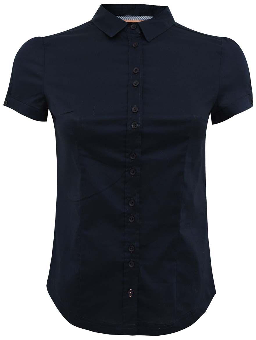 Рубашка11401238/33582/7900NЖенская рубашка oodji Ultra выполнена из хлопка с добавлением полиуретана. Модель с отложным воротником и короткими рукавами застегивается на пуговицы.