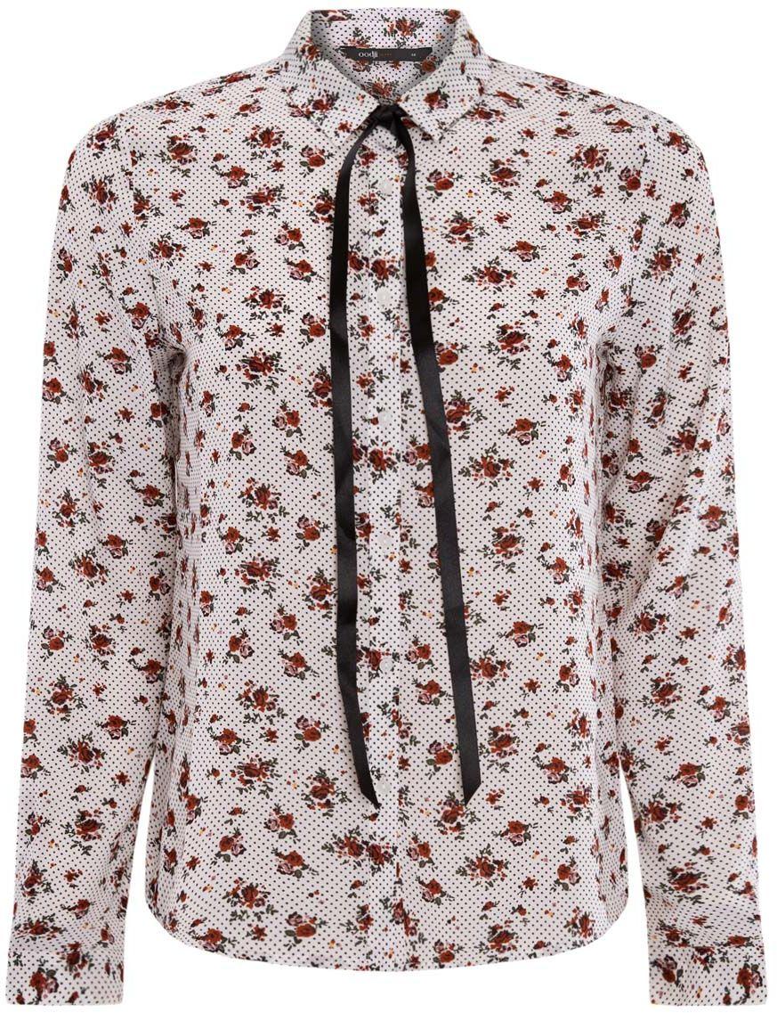 Блузка11411058/43277/2945FЖенская блузка oodji Ultra выполнена из 100% полиэстера. Модель с отложным воротником и длинными рукавами застегивается на пуговицы. Изделие дополнено завязками под воротником и оформлено оригинальным принтом.