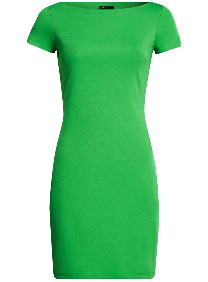 14001117-2B/16564/2500MТрикотажное платье oodji Ultra выполнено из качественного комбинированного материала. Модель по фигуре с вырезом-лодочкой и короткими рукавами.