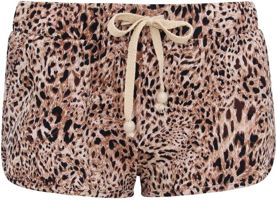 Шорты17000013-1/26239/3529AСтильные женские шорты oodji Ultra выполнены из хлопка с добавлением эластана. Лицевая сторона дополнена двумя прорезными карманами. Пояс оснащен вставкой из эластичной резинки и шнурками. Шорты оформлены леопардовым принтом.