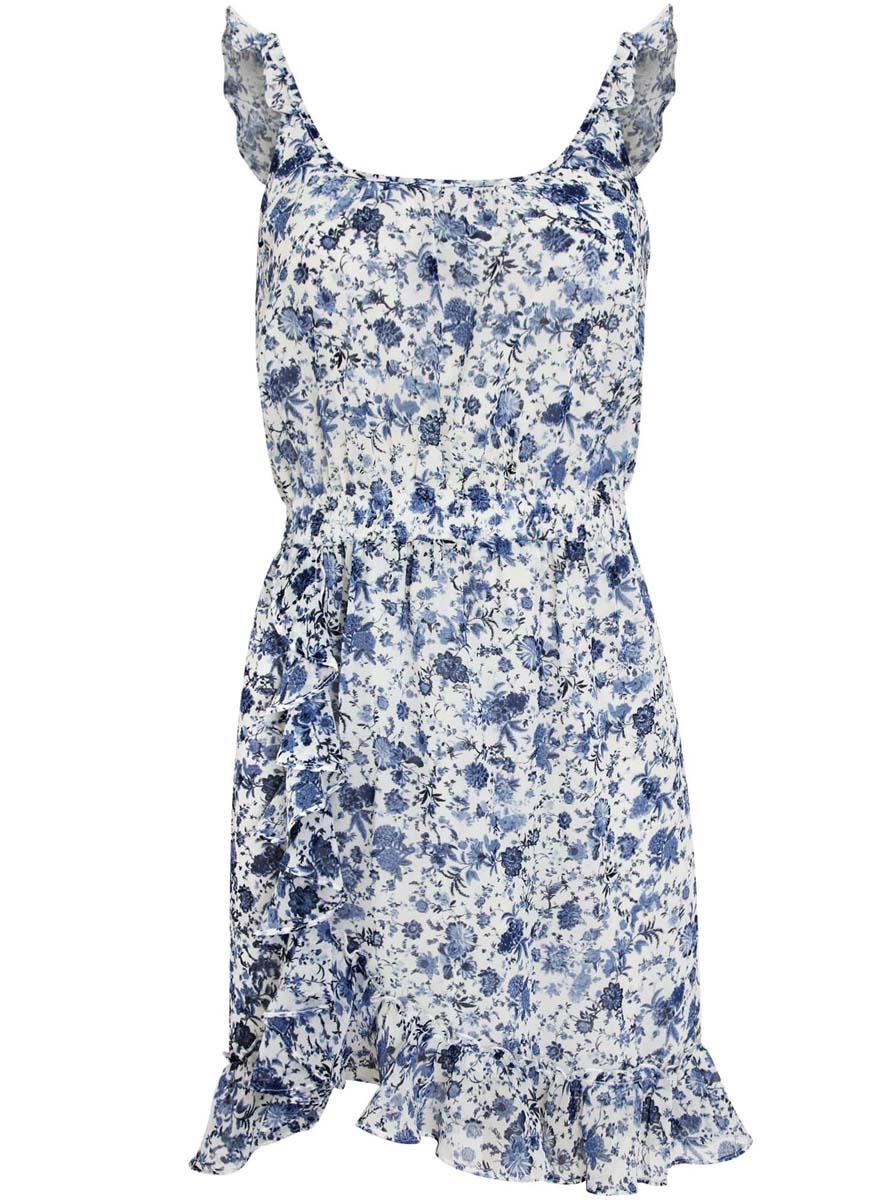 Платье11900189/35202/1275FПлатье oodji Ultra выполнено из струящейся принтованной ткани и декорировано оборками. Модель длины мини. Талия оформлена эластичной резинкой.
