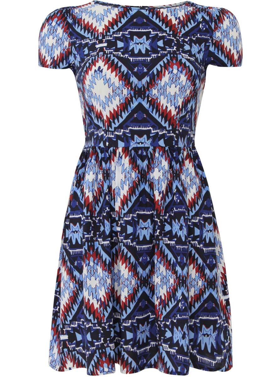 Платье11900191/26346/2959EПлатье oodji Ultra изготовлено из качественной вискозы. Модель застегивается сзади на молнию. Платье с круглым вырезом и короткими рукавами оформлено оригинальным принтом. По бокам платье дополнено текстильными завязками.