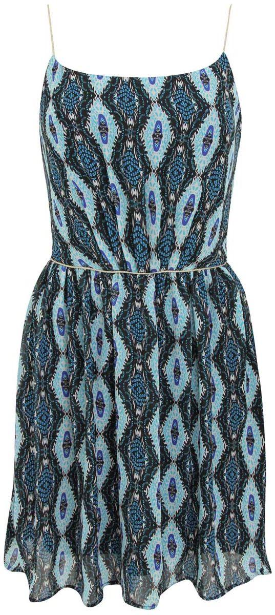 Платье11910065/35360/2973EПлатье oodji Ultra без рукавов изготовлено из качественного полиэстера. Модель с тонкими бретельками застегивается сбоку на молнию. На талии ткань собрана складками и декорирована блестящим шнурком. Модель имеет подкладку.