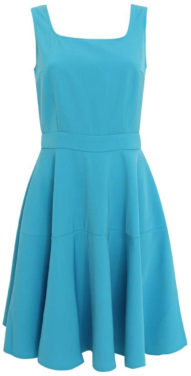 Платье11902132M/35991/7300NСтильное платье oodji Ultra выполнено из качественного плотного полиэстера. Платье с квадратным декольте застегивается сзади на молнию. Модель без рукавов, юбка расклешена.